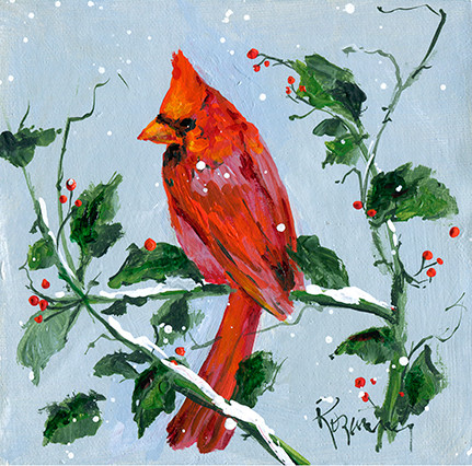 219 Male Cardinal in Holly