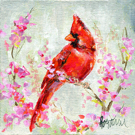 230 Cardinal in Redbud 6x6 #2.jpg