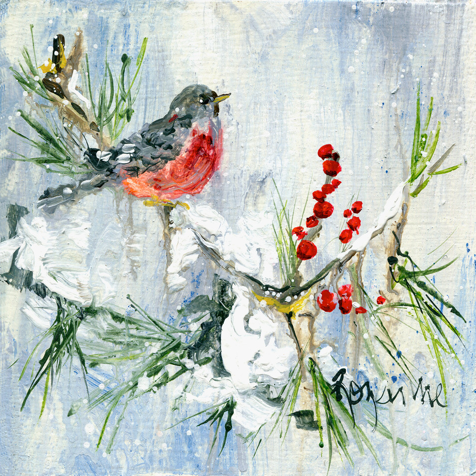 213 Red breasted bird and berries 8x8.jp