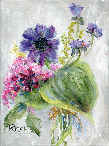 241 Flowers and Hosta leaves 6x8 #2.jpg
