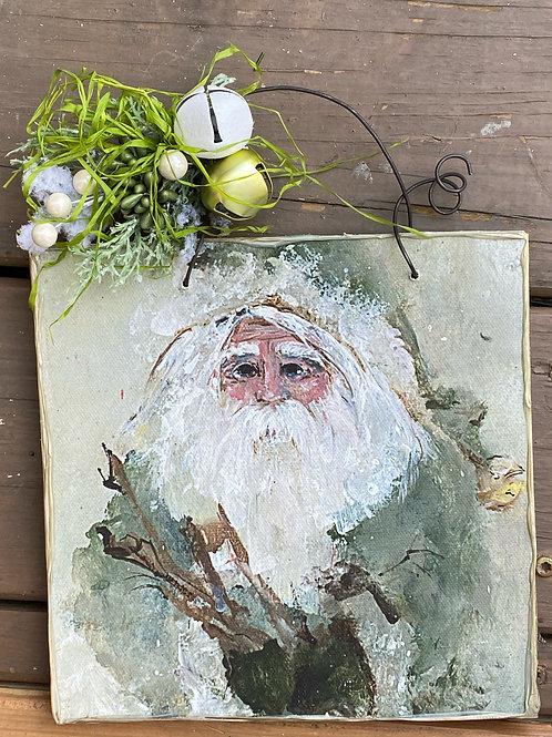 Green Santa with Twigs