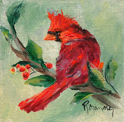 275 cardinal looking for berries 6x6 #2.jpg