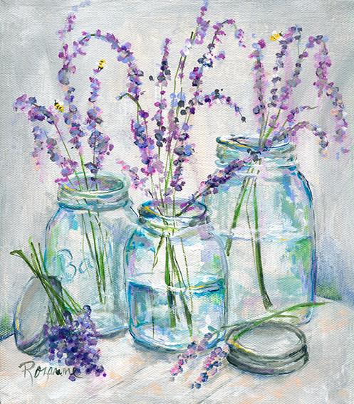 245 3 Blue Jars w Lavender 7x8  & 11 x 1