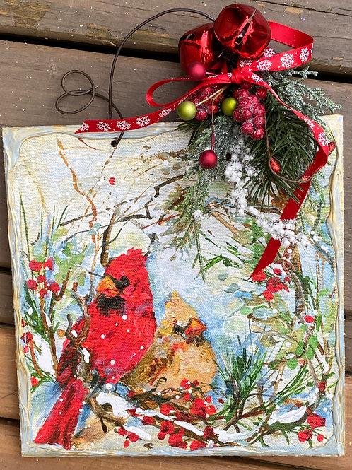 Winter Pair in Wreath