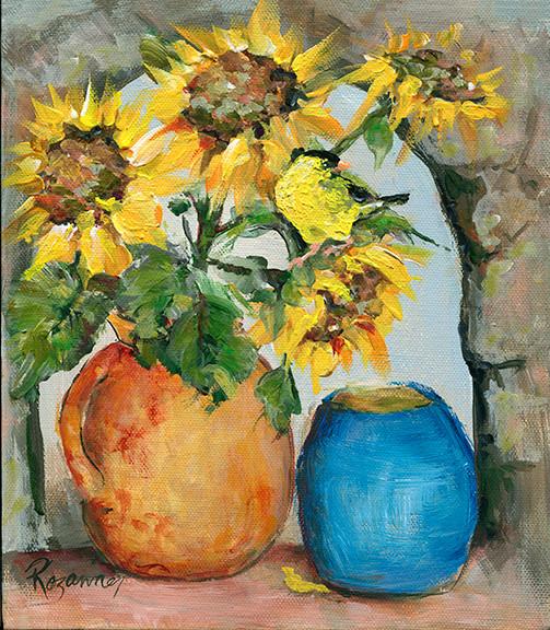visitor on sunflowers 7x8.jpg