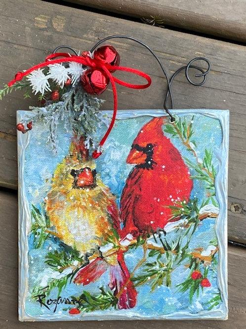 Cardinal Pair on Pine Tree