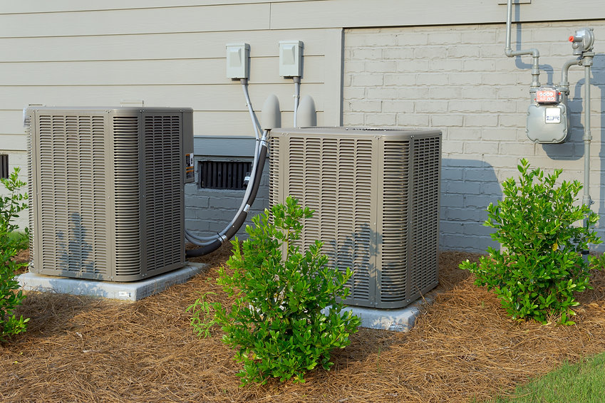 HVAC units connected to residential hous