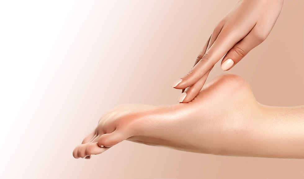 Perfect clean female foot . Beautiful and elegant groomed girl's hand touches her feet . S