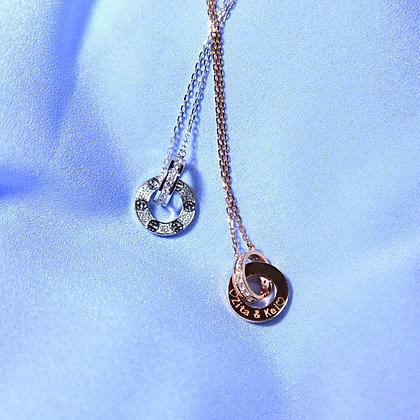 Duet Circle Couple Necklace