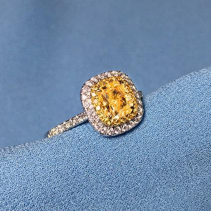 Cushion Shape Yellow Diamond Ring
