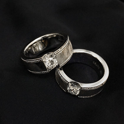 Wide Band Couple Diamond Ring