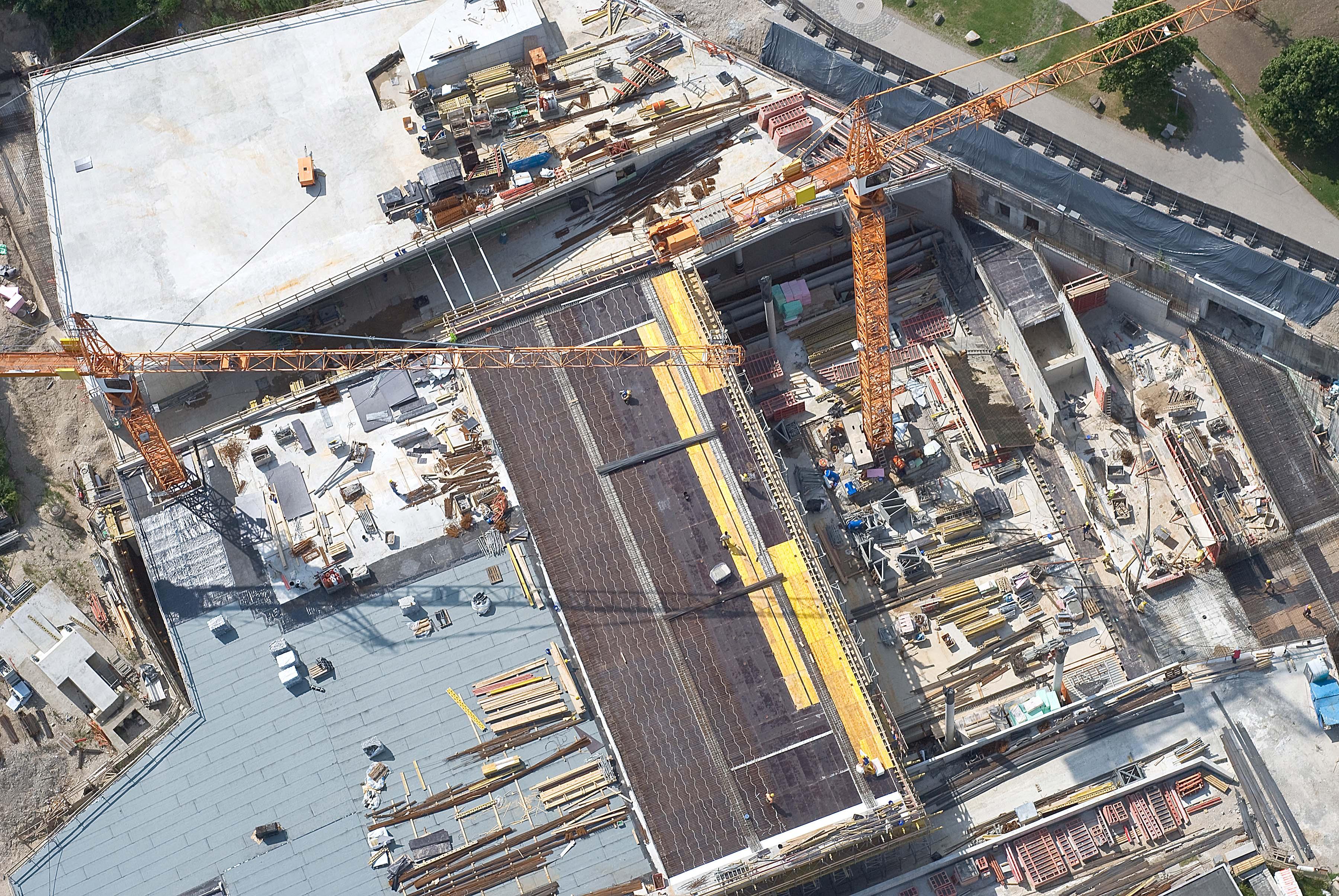 Construction site aerial