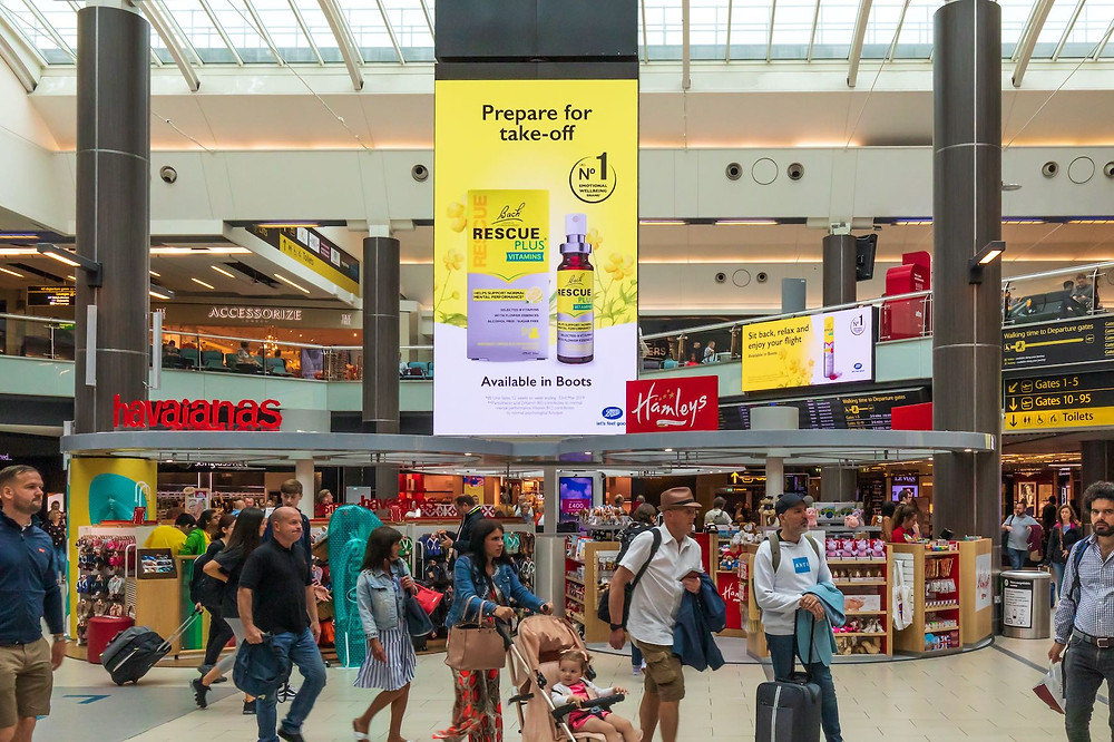 Rescue Remedy advert at Gatwick Airport