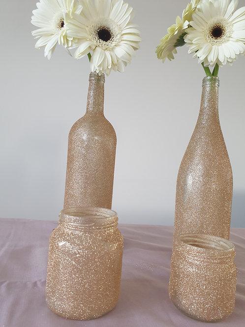 Kerzenglas Glitzergold