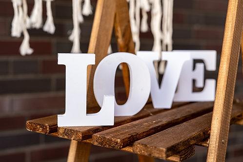 Holzaufsteller LOVE weiß