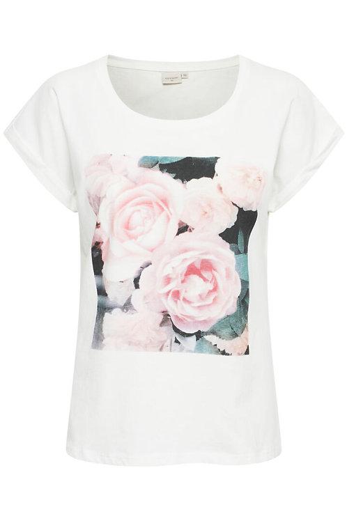 T-shirt blanc et fleurs Cream 10607960