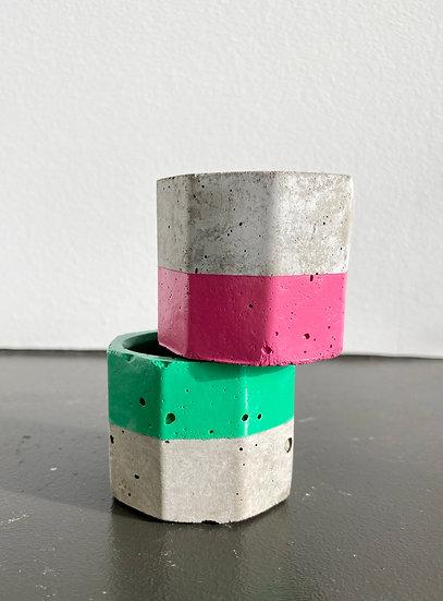 "1.6"" Green & Pink Concrete Mini Planters"