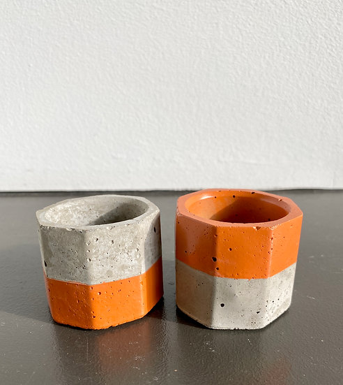 """1.6"""" Orange Concrete Mini Planters"""