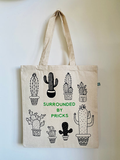 Surrounded by Pricks Canvas Tote