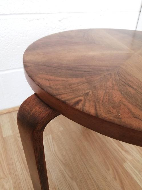 Alvar Aalto Side Table in Walnut Veneers and Beech Bent Ply Legs