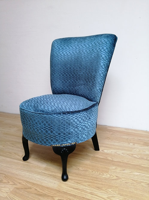 Mid-Century Bedroom Chair in Beautiful Blue Fabric Retro Shape