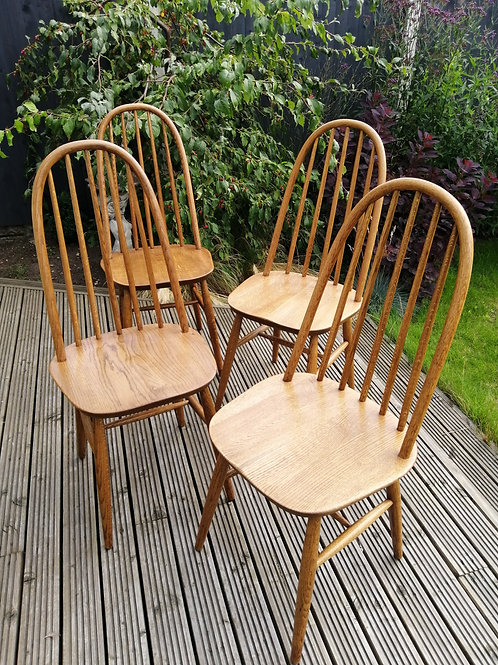 1960s Solid Oak Windsor Dining Chairs by Priory