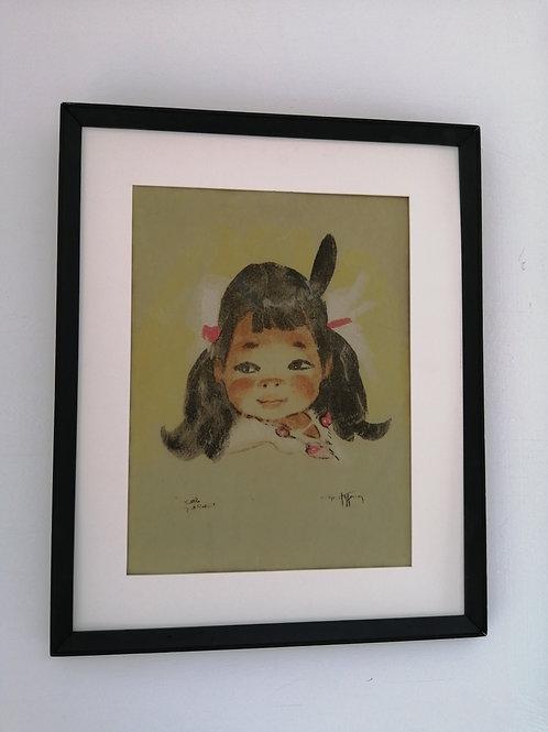 Gerda Christofferson Silkscreen on Felt Little Jack Rabbit Navajo Child