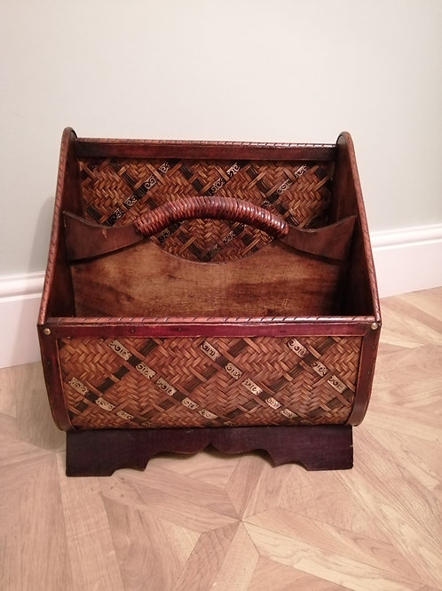 Victorian Wooden Magazine Rack with Cane Wicker and Brass Trim