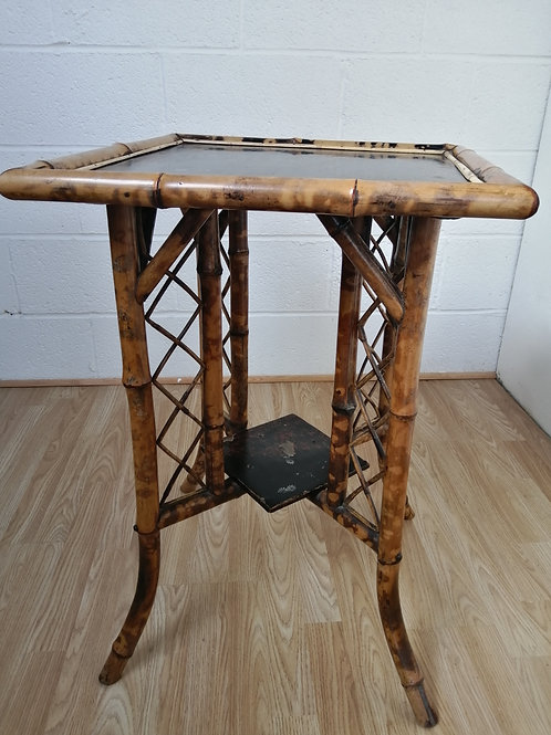 1930s Vintage Tiger Bamboo Side Lamp or Occasional Table