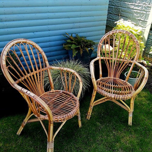 Pair of Retro Bamboo and Cane Chairs 1970s