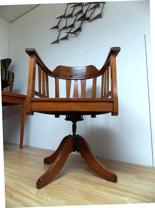 Vintage Oak Swivel Captains Desk Chair