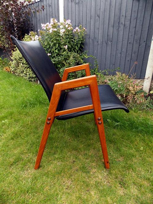 Mid-Century Danish Style Black Vinyl  Desk /  Occasional Chair