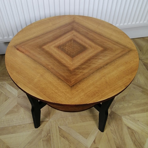 Mid-Century 1950s Circular Walnut Side Table with Shelf made by Remploy