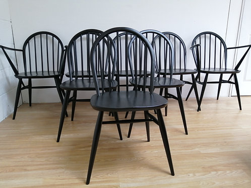 Mid-Century 1960s Ercol set of 8 Dining Chairs in Black