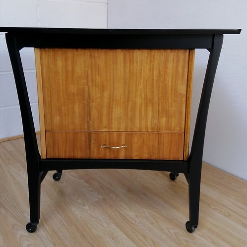 Very Rare 1950s Tola and Black G plan style Large Sewing Box on Wheels