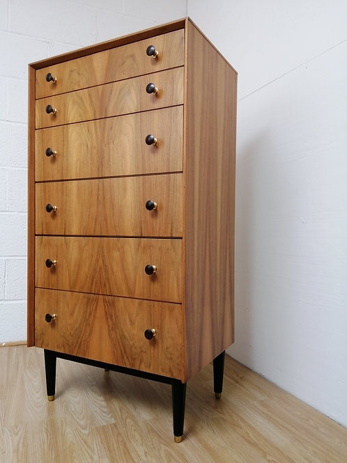 Mid-Century G plan EGomme Walnut Tallboy Chest of Drawers