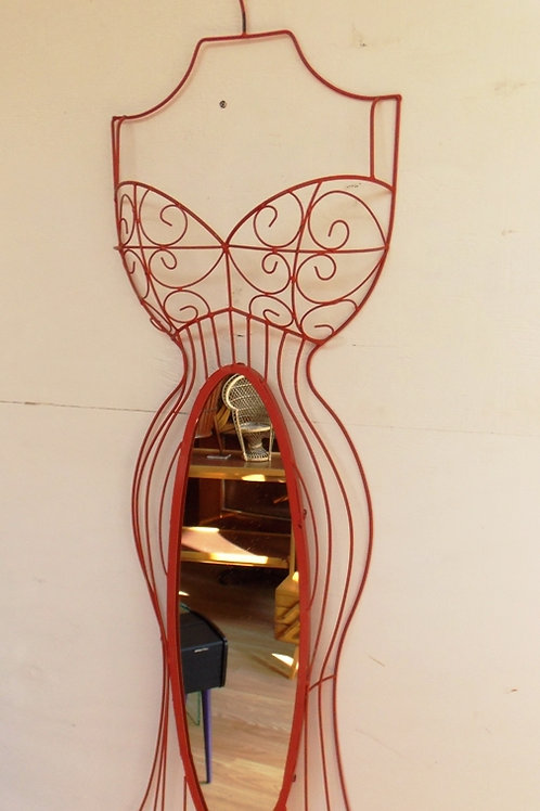 Vintage Hanging Dress Form Mirror Red Wire 1960S
