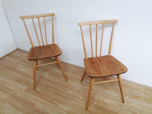 A pair of Mid-Century ERCOL 391 Kitchen Dining All Purpose Chairs