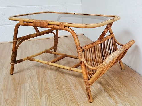 Vintage Cane and Bamboo Coffee Table with Built in Magazine Rack Boho Tiki Retro