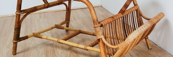 Bamboo Coffee Table with Mag Rack