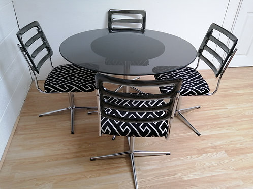 1960s Smoked Glass and Chrome Table and 4 Lucite Swivel Chairs