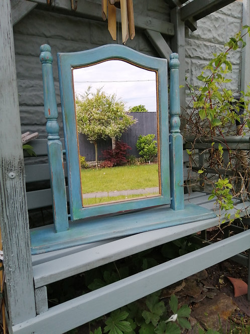 Large Vintage Upcycled Table Top Wooden Mirror in Green