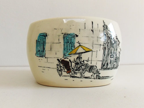 Vintage Sugar Basin Bowl 1950s Midwinter RIVIERA HUGH CASSON with lid and spoon