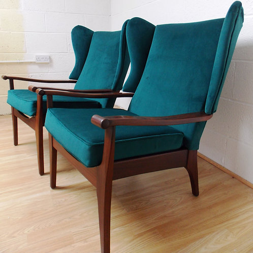 Pair of Refurbished Mid Century 1960s Afrormosia Wingback Armchairs