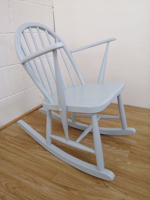 ERCOL 325 Elm Nursing or Childs Rocking Chair Painted in Sky Blue