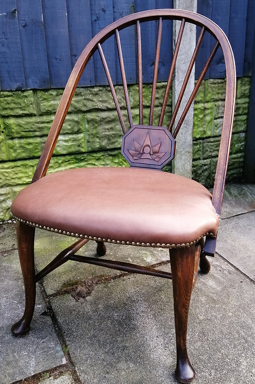 Victorian Oak and Beech Chair with Padded Seat and Carved Panel Arts and Crafts