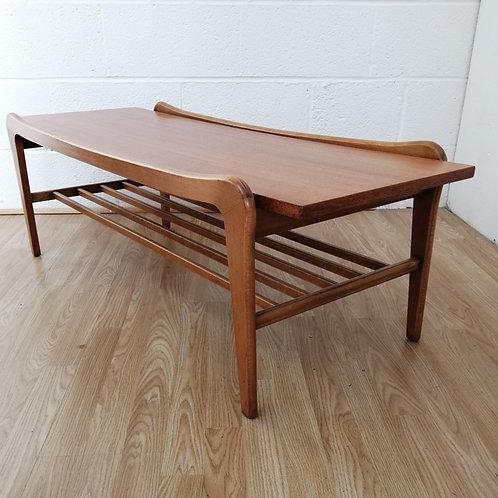 Mid Century Danish Style  Teak Coffee Table With Magazine Shelf