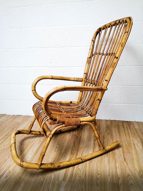 Vintage Bamboo Rocking Chair