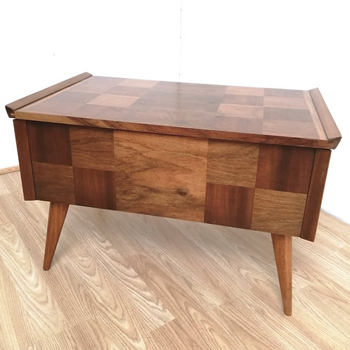 Mid-Century 1960s Walnut Parqueted Sewing Craft Storage Box Table C. Arnold