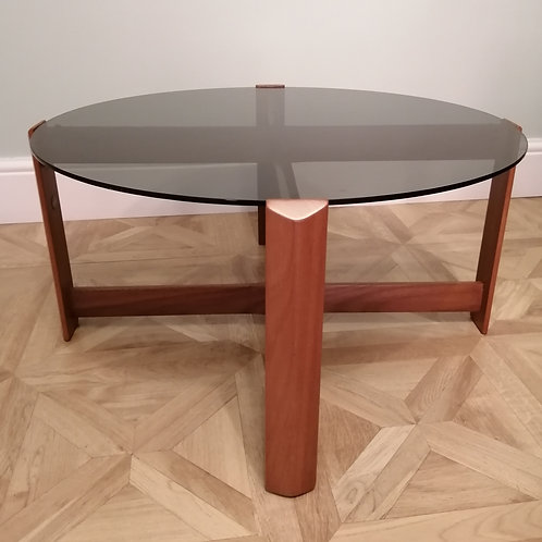 Mid-Century Teak and Smoked Glass Coffee Table by Myer Furniture 1960s Restored